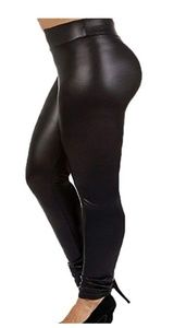 Pants - Plus Size Faux Leather Leggings Lightweight High W